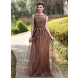 A-Line/Princess Scoop Neck Floor-Length Tulle Charmeuse Mother of the Bride Dress With Beading Appliques Sequins (008022938)