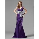 Mermaid V-neck Sweep Train Taffeta Bridesmaid Dress With Ruffle Sash (007004108)