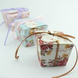 Blumenmuster Quader Geschenkboxen mit Bänder (Satz von 12)