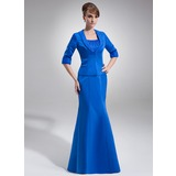 Empire Scoop Neck Floor-Length Satin Organza Mother of the Bride Dress With Ruffle Beading