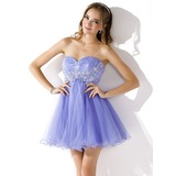 Empire Sweetheart Short/Mini Organza Homecoming Dress With Ruffle Lace Beading (022021283)