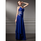 A-Line/Princess Halter Floor-Length Chiffon Prom Dress With Ruffle Beading (018005003)