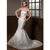 Trumpet/Mermaid Sweetheart Court Train Satin Wedding Dress With Lace Beading