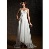 Corte imperial Escote corazón Asimétrico Chifón Vestido de novia con Volantes Encaje Bordado Lentejuelas