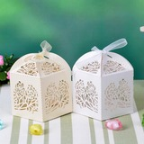 Floral Cut Out Cuboid Favor Boxes With Ribbons (Set of 12)