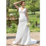 A-Line/Princess V-neck Court Train Taffeta Wedding Dress With Ruffle Beading Sequins