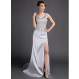 Sheath Scoop Neck Court Train Satin Prom Dress With Lace Beading (018015893)