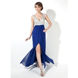 Sheath V-neck Floor-Length Chiffon Prom Dress With Beading Sequins (018005095)