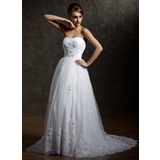A-Line/Princess Sweetheart Court Train Taffeta Tulle Wedding Dress With Ruffle Lace Beadwork Sequins (002004967)