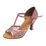 Leatherette Fabric Patent Leather Heels Sandals Latin Ballroom Dance Shoes With T-Strap (053013134)
