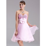 Empire Sweetheart Short/Mini Satin Organza Sequined Homecoming Dress With Ruffle Beading Flower(s) Bow(s)