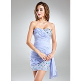 Sheath Sweetheart Short/Mini Chiffon Cocktail Dress With Ruffle Beading Sequins (016024429)