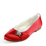 Satin Flat Heel Closed Toe Flats Wedding Shoes With Rhinestone (047014109)