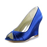 Satin Wedge Heel Peep Toe Pumps Wedding Shoes (047020192)