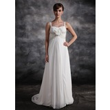 Empire Sweetheart Court Train Chiffon Bridesmaid Dress With Ruffle Beading Flower(s) (007016873)
