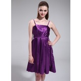 Empire Knee-Length Charmeuse Bridesmaid Dress With Ruffle (007025588)