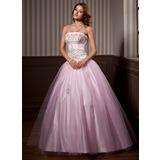 Duchesse-Linie Trägerlos Bodenlang Tüll Quinceañera Kleid (Kleid für die Geburtstagsfeier) mit Rüschen Perlen verziert Pailletten