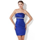 Sheath Scalloped Neck Short/Mini Charmeuse Cocktail Dress With Ruffle Beading (016020692)
