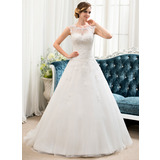 Ball-Gown Scoop Neck Sweep Train Tulle Lace Wedding Dress With Beading Sequins (002054358)