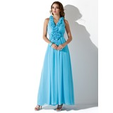 A-Line/Princess V-neck Floor-Length Chiffon Prom Dress With Ruffle Beading Appliques Flower(s) Sequins (018004831)