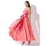 Empire Strapless Ankle-Length Chiffon Prom Dress With Ruffle Sash Bow(s) Cascading Ruffles
