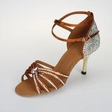 Frauen Satiniert Sandalen Absatzschuhe Latin Ballsaal Salsa mit Strass Knöchelriemen Schnalle Tanzschuhe