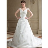 A-Line/Princess V-neck Chapel Train Tulle Wedding Dress With Embroidered Ruffle Beading