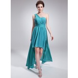 A-Line/Princess One-Shoulder Asymmetrical Chiffon Homecoming Dress With Ruffle (022009155)