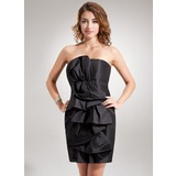 Sheath/Column Strapless Short/Mini Taffeta Cocktail Dress With Ruffle