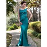 Trompete/Meerjungfrau-Linie Off-the-Schulter Sweep/Pinsel zug Charmeuse Kleid für die Brautmutter mit Rüschen Perlen verziert Pailletten