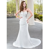 Sheath/Column Sweetheart Court Train Satin Wedding Dress With Ruffle Beadwork (002001175)