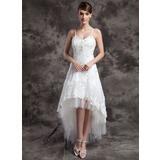 A-Line/Princess V-neck Asymmetrical Organza Tulle Wedding Dress With Lace Beading