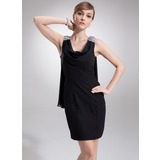 Sheath Cowl Neck Short/Mini Chiffon Cocktail Dress With Beading (016022557)