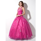 Ball-Gown Halter Floor-Length Organza Quinceanera Dress With Ruffle Lace Beading (021003137)