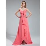 A-Linie/Princess-Linie V-Ausschnitt Asymmetrisch Chiffon Brautjungfernkleid mit Gestufte Rüschen
