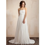 Empire Strapless Court Train Chiffon Lace Wedding Dress With Lace Beading Pleated