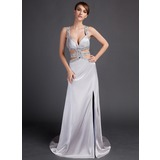 Sheath Court Train Charmeuse Prom Dress With Beading (018015889)