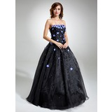Ball-Gown Strapless Floor-Length Organza Quinceanera Dress With Beading Flower(s) (021020827)