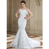Trumpet/Mermaid Scalloped Neck Court Train Satin Wedding Dress With Lace Beading Sequins