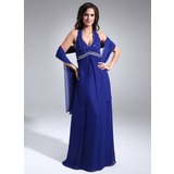 A-Line/Princess Halter Floor-Length Chiffon Mother of the Bride Dress With Ruffle Beading (008020999)