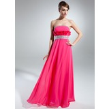 Empire Strapless Floor-Length Chiffon Charmeuse Prom Dress With Beading (018015517)