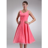Empire Scoop Neck Tea-Length Organza Bridesmaid Dress With Ruffle (007001796)