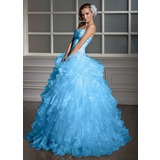 Ball-Gown Sweetheart Floor-Length Organza Quinceanera Dress With Beading (021020619)