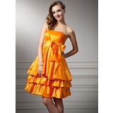 Empire Strapless Knee-Length Taffeta Homecoming Dress With Ruffle (022020874)