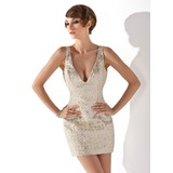 Sheath V-neck Short/Mini Sequined Cocktail Dress (016020815)