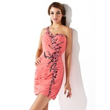 Sheath/Column One-Shoulder Short/Mini Chiffon Homecoming Dress With Ruffle Beading Sequins