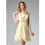 A-Line/Princess One-Shoulder Short/Mini Chiffon Charmeuse Homecoming Dress With Ruffle Beading (022004400)