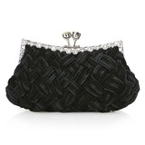 Black Gorgeous Backfin Satin Shell With Rhinestone Evening Bag Handbag Purse Clutch (012005563)