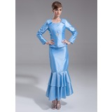 Sheath Scoop Neck Ankle-Length Taffeta Bridesmaid Dress With Lace Beading (007002109)