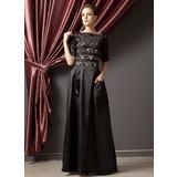 A-Linie/Princess-Linie U-Ausschnitt Bodenlang Charmeuse Kleid für die Brautmutter mit Rüschen